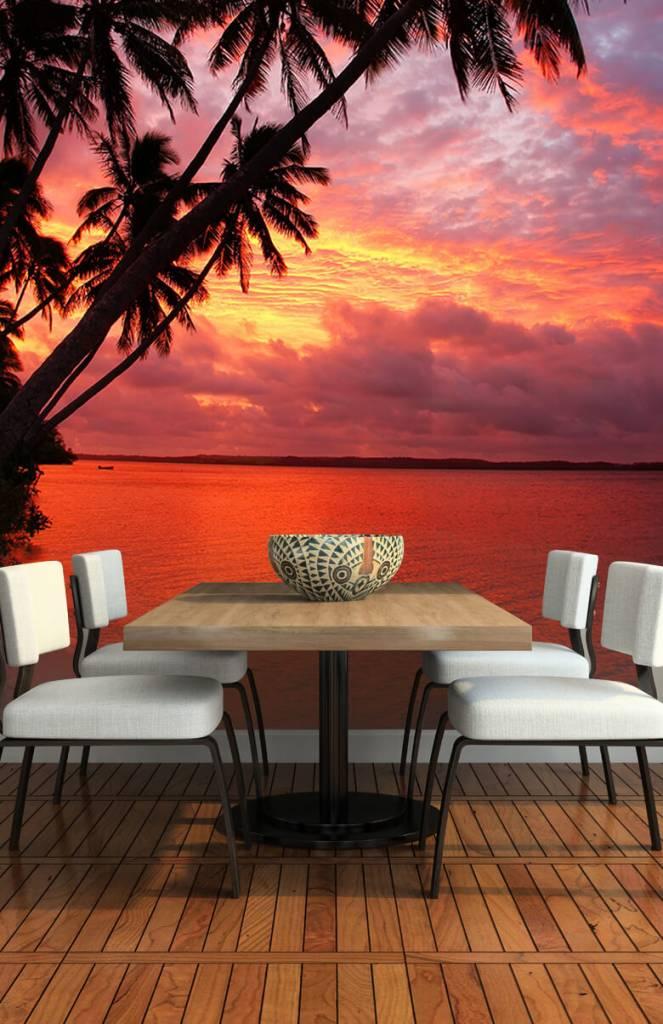 Zomer behang - Palmbomen over een rode oceaan - Slaapkamer 1