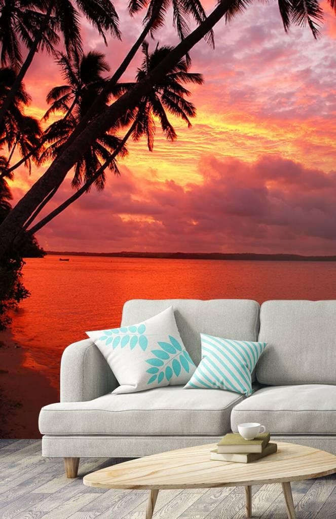 Zomer behang - Palmbomen over een rode oceaan - Slaapkamer 3