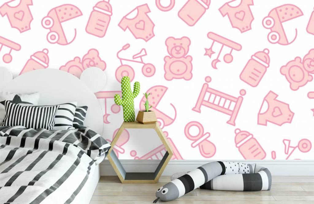 Behang Baby Roze.Behang Met Roze Baby Illustraties Fotobehang