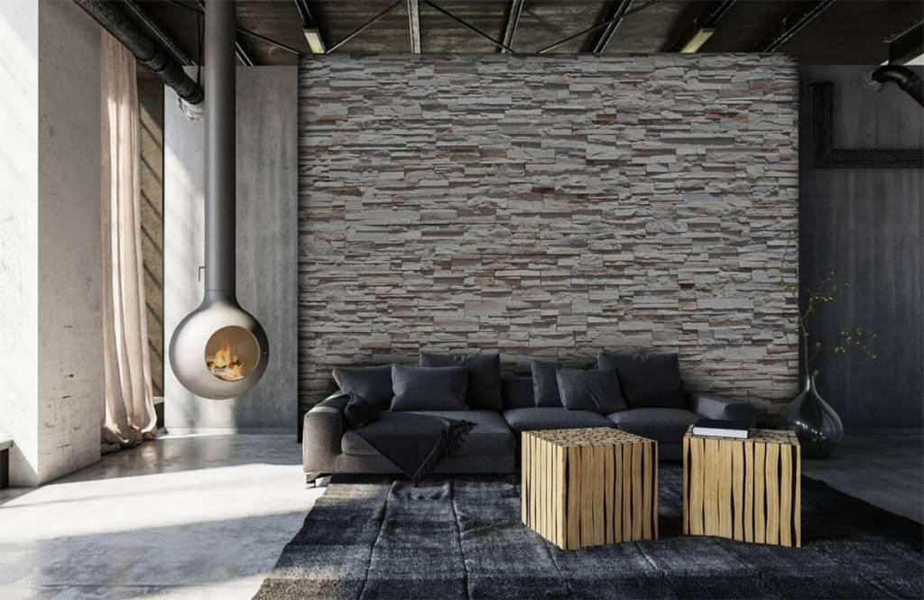 Steen behang - Ruwe stenen - Slaapkamer 6