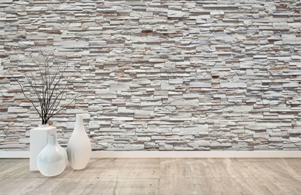 Steen behang - Ruwe stenen - Slaapkamer 8
