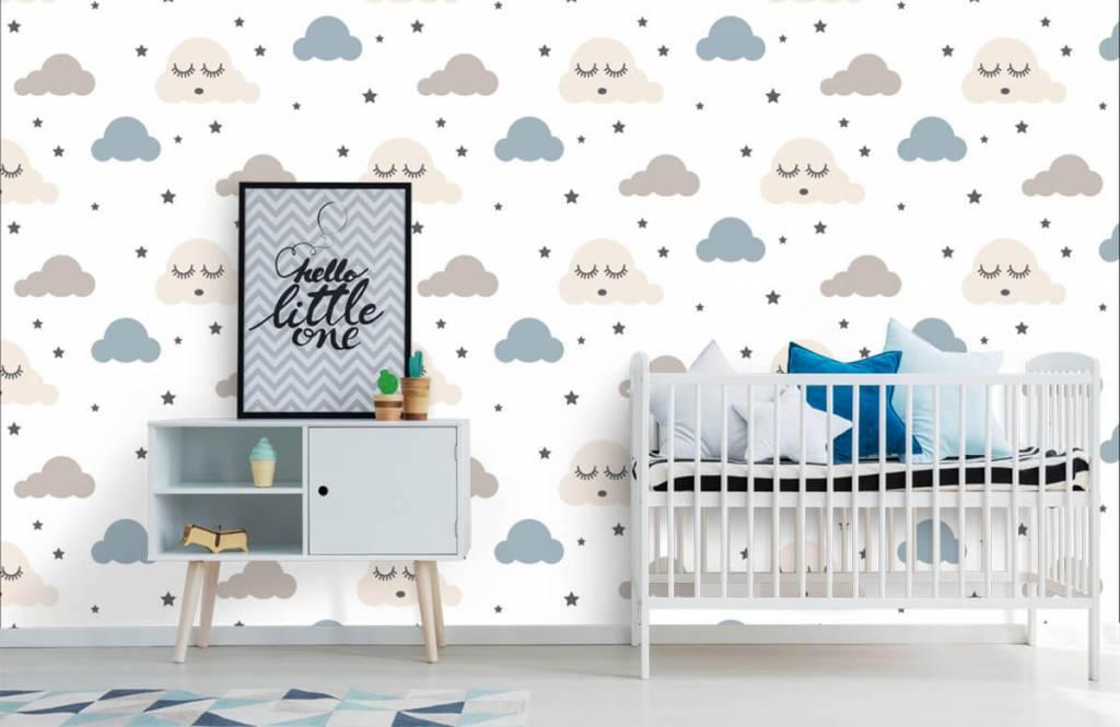Baby behang - Slapende wolkjes - Babykamer 1