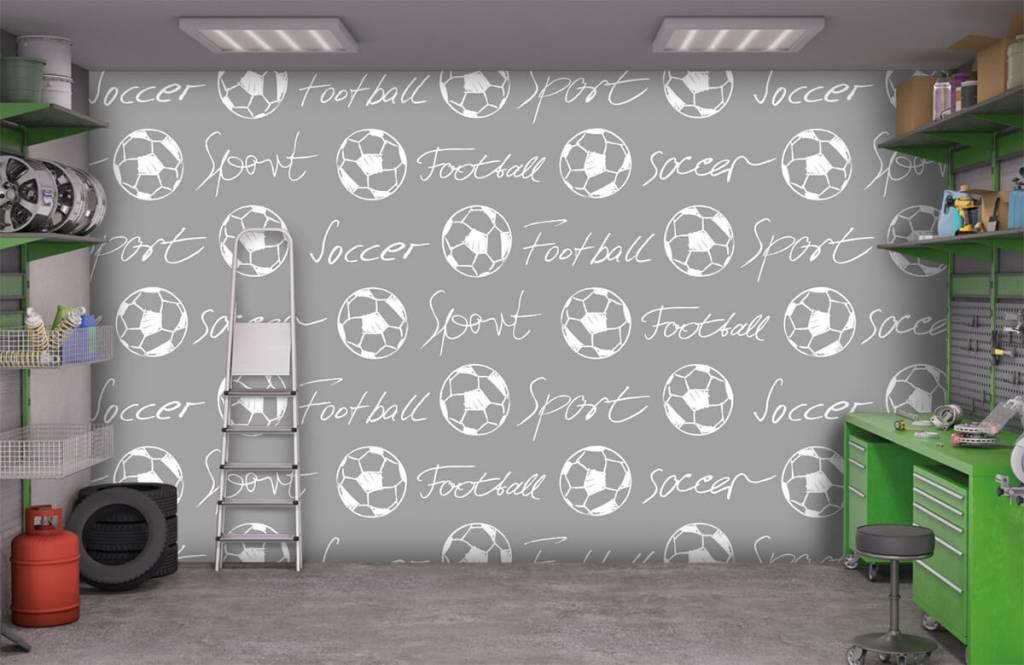 Voetbal behang - Voetballen en tekst - Kinderkamer 1