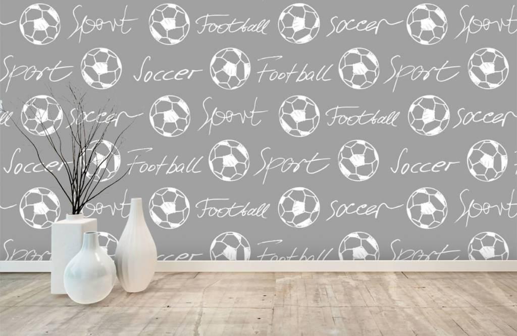 Voetbal behang - Voetballen en tekst - Kinderkamer 2