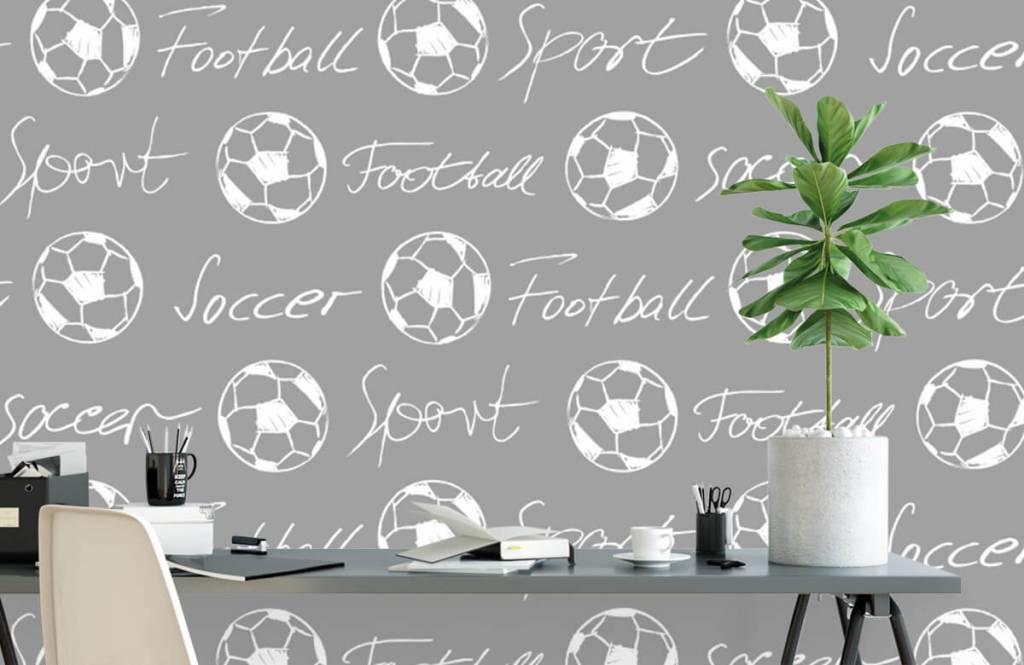 Voetbal behang - Voetballen en tekst - Kinderkamer 3