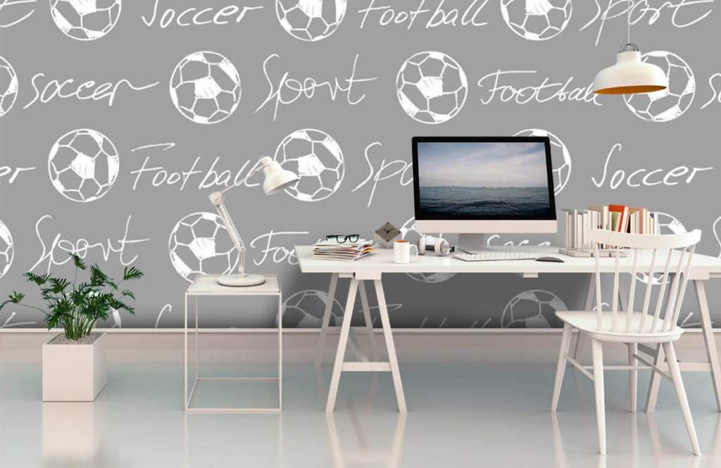 Voetbal behang - Voetballen en tekst - Kinderkamer 4