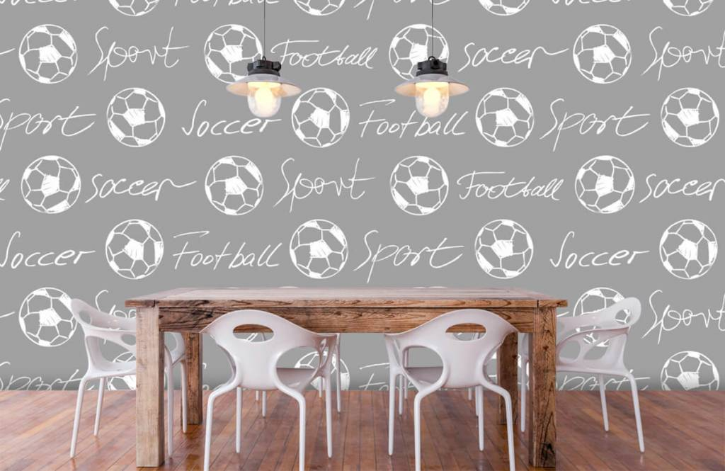 Voetbal behang - Voetballen en tekst - Kinderkamer 6