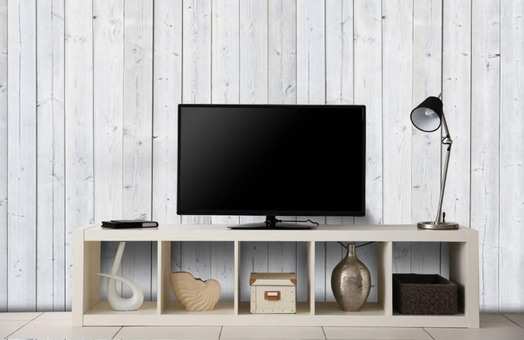 Hout behang - Whitewash hout verticaal - Slaapkamer 1