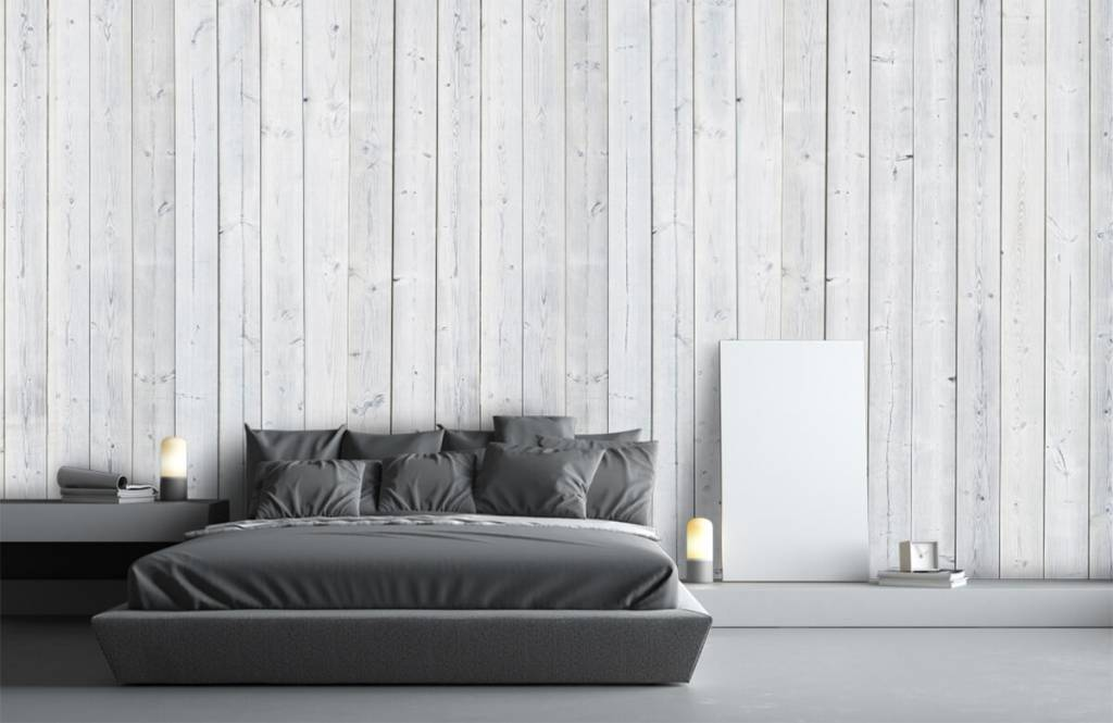 Hout behang - Whitewash hout verticaal - Slaapkamer 3