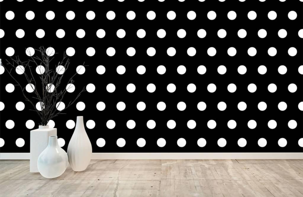 Overige - Witte stippen op zwarte achtergrond - Babykamer 8