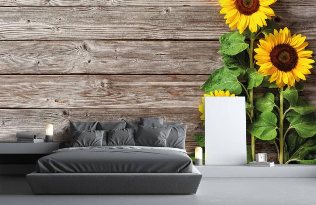 Zonnebloemen - Zonnebloemen en hout - Garage 2