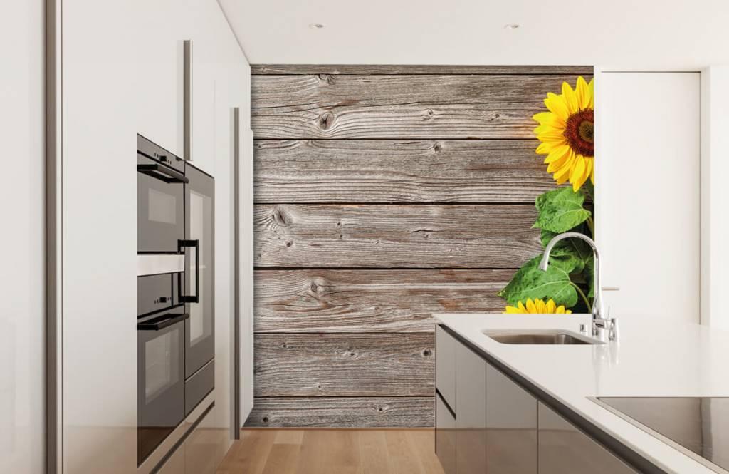 Zonnebloemen - Zonnebloemen en hout - Garage 3