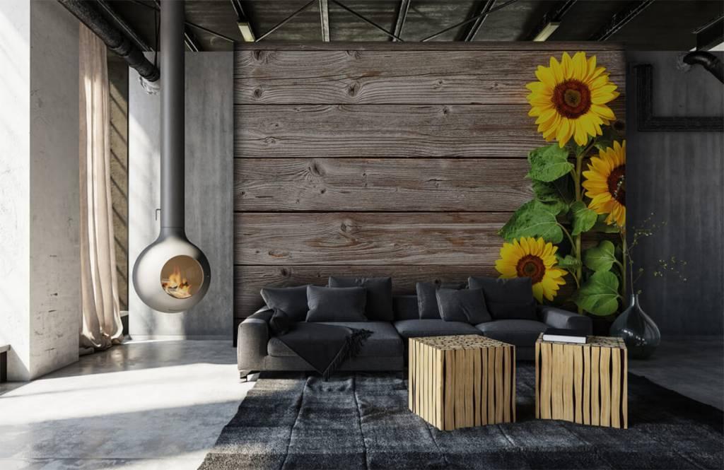 Zonnebloemen - Zonnebloemen en hout - Garage 6