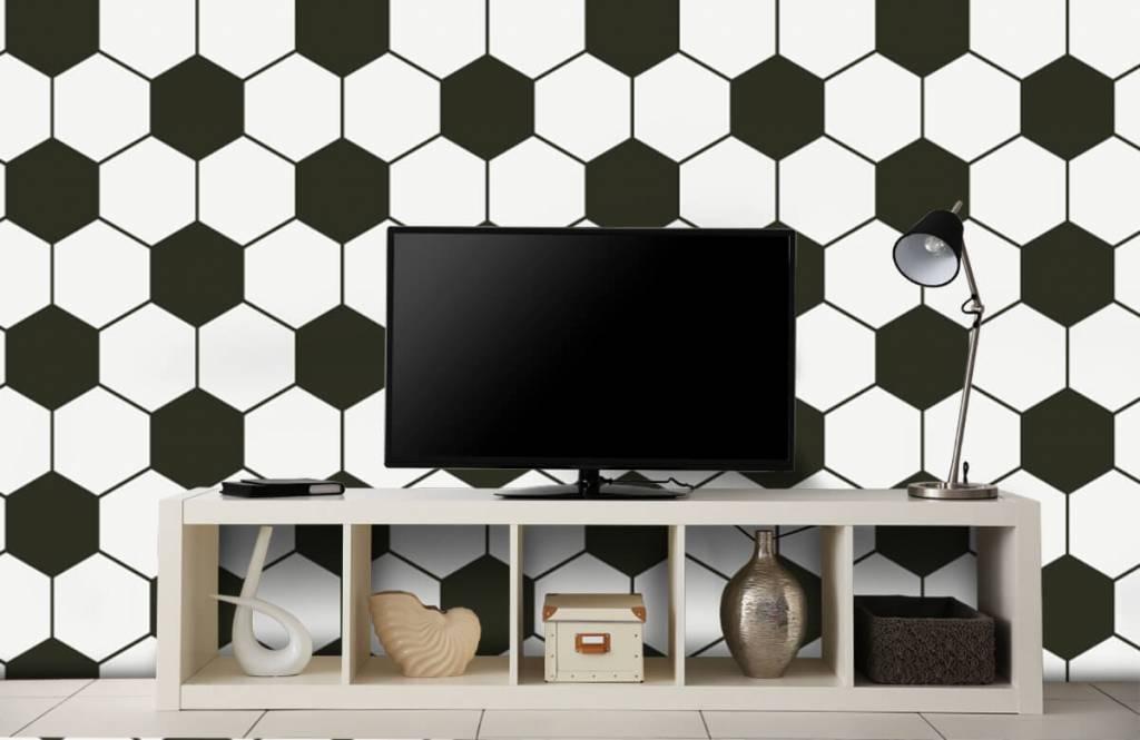 Voetbal behang - Zwart-witte geometrische veelhoeken - Kinderkamer 1