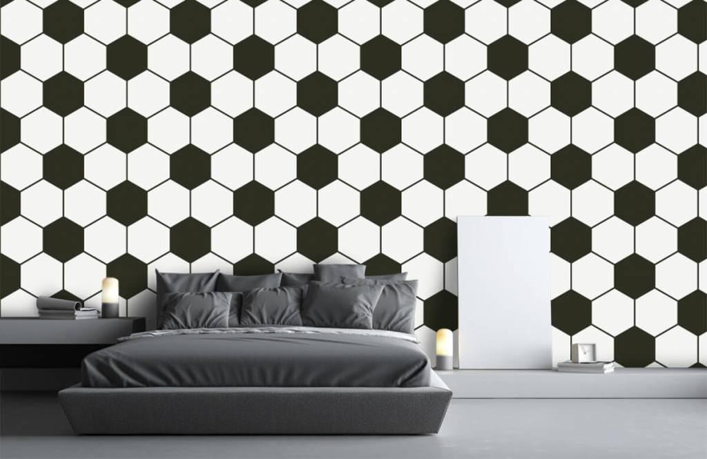 Voetbal behang - Zwart-witte geometrische veelhoeken - Kinderkamer 3