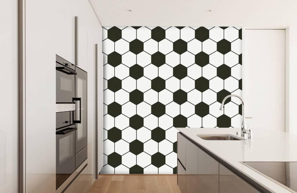 Voetbal behang - Zwart-witte geometrische veelhoeken - Kinderkamer 4