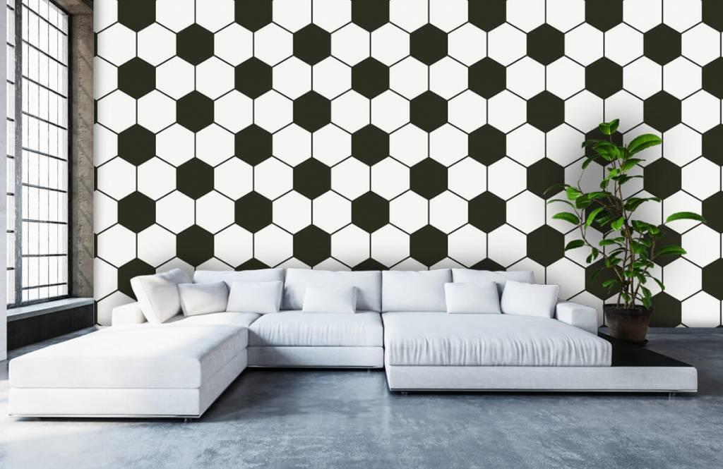 Voetbal behang - Zwart-witte geometrische veelhoeken - Kinderkamer 5