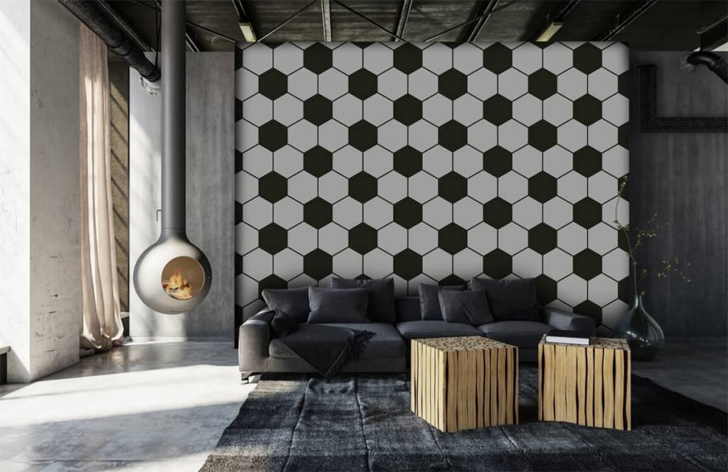 Voetbal behang - Zwart-witte geometrische veelhoeken - Kinderkamer 6