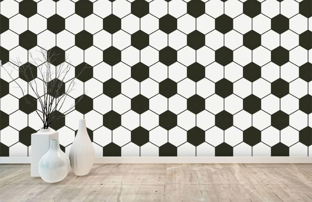 Voetbal behang - Zwart-witte geometrische veelhoeken - Kinderkamer 8