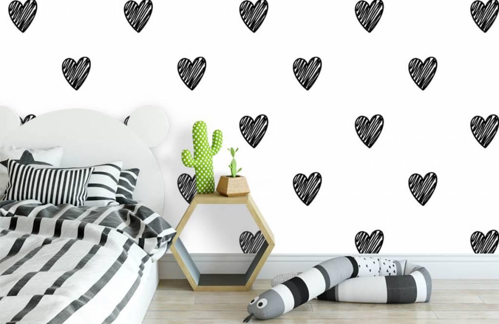 Zwart Wit behang - Zwarte getekende hartjes - Kinderkamer 1