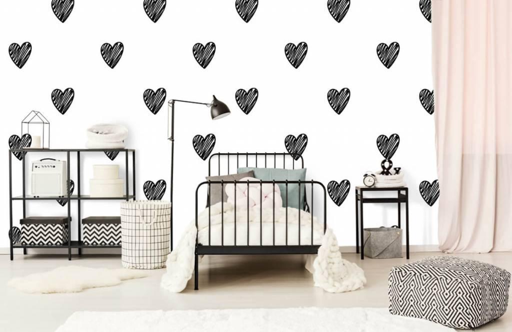 Zwart Wit behang - Zwarte getekende hartjes - Kinderkamer 2