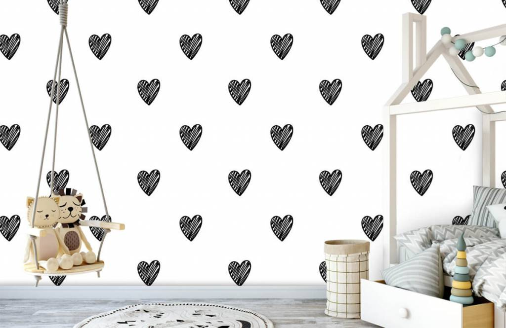 Zwart Wit behang - Zwarte getekende hartjes - Kinderkamer 3