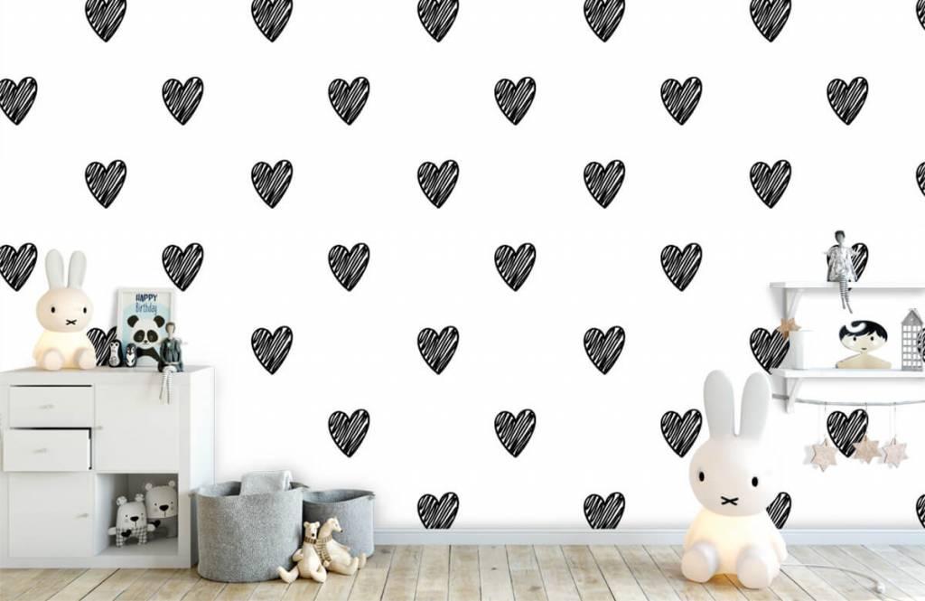 Zwart Wit behang - Zwarte getekende hartjes - Kinderkamer 4