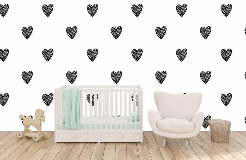 Zwart Wit behang - Zwarte getekende hartjes - Kinderkamer 5