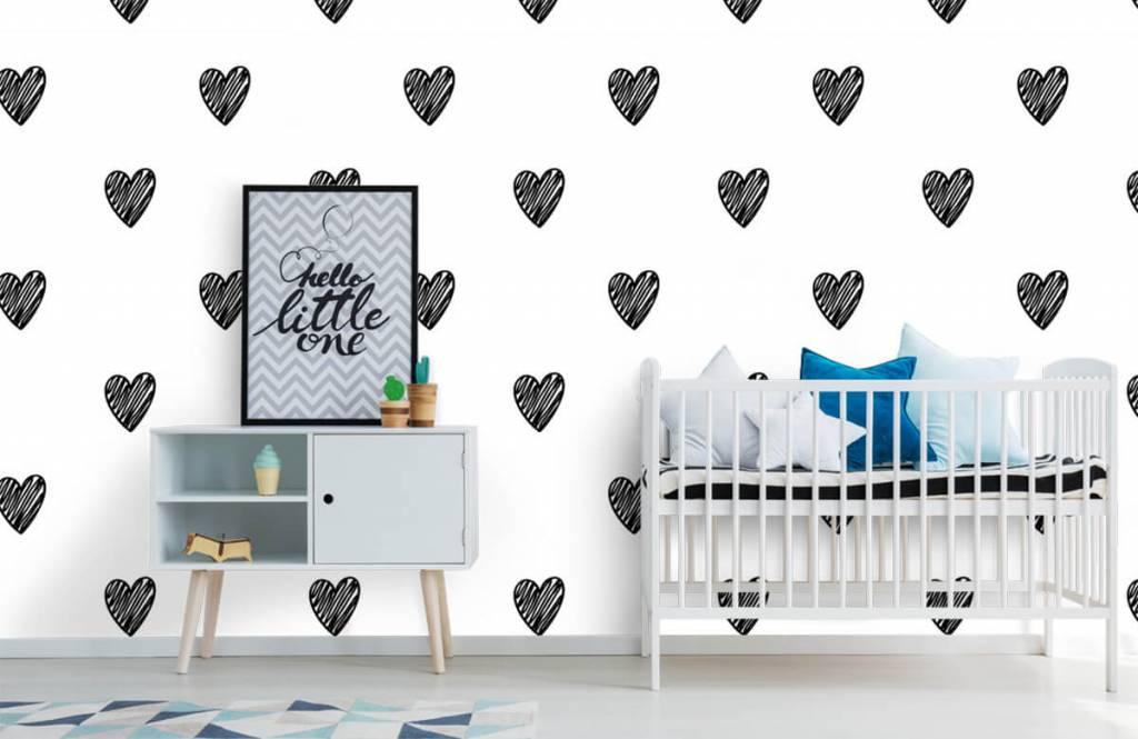 Zwart Wit behang - Zwarte getekende hartjes - Kinderkamer 6