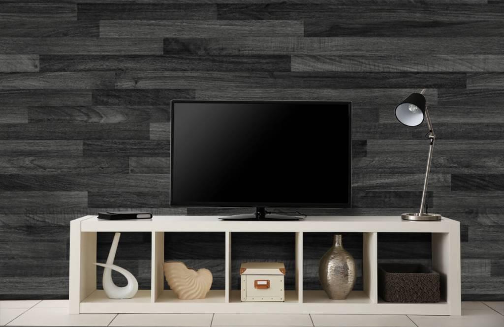 behang met zwarte houten wand - fotobehang