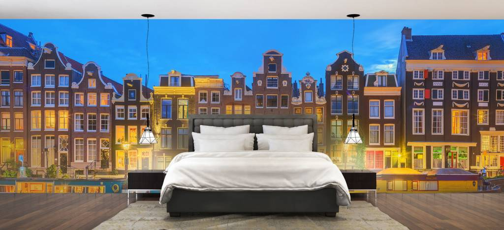 Gebouwen - Amsterdamse huizen in de nacht - Gang 1