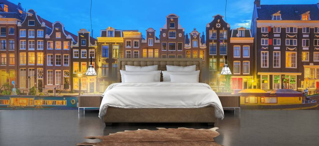 Gebouwen - Amsterdamse huizen in de nacht - Gang 2