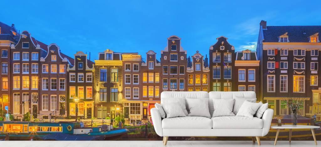 Gebouwen - Amsterdamse huizen in de nacht - Gang 3