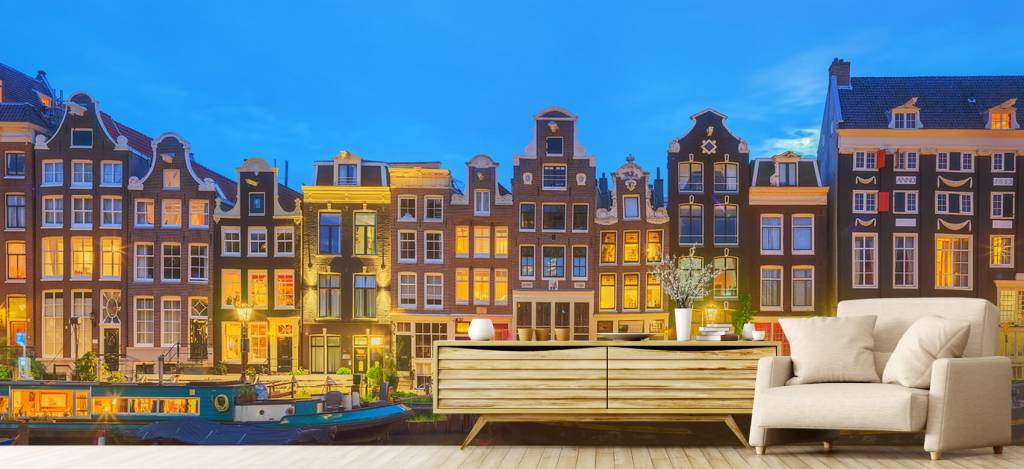 Gebouwen - Amsterdamse huizen in de nacht - Gang 4