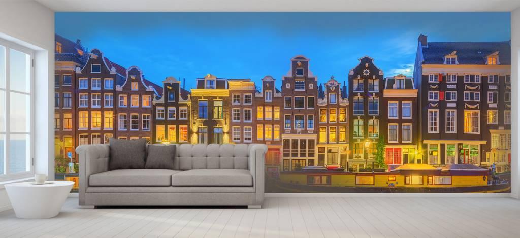 Gebouwen - Amsterdamse huizen in de nacht - Gang 5