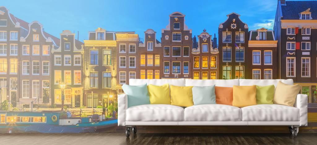 Gebouwen - Amsterdamse huizen in de nacht - Gang 6