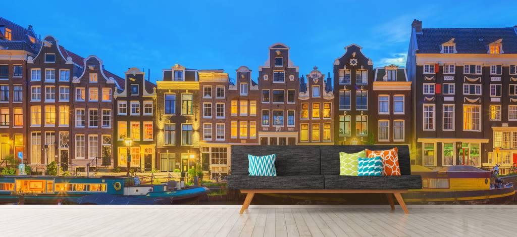 Gebouwen - Amsterdamse huizen in de nacht - Gang 7