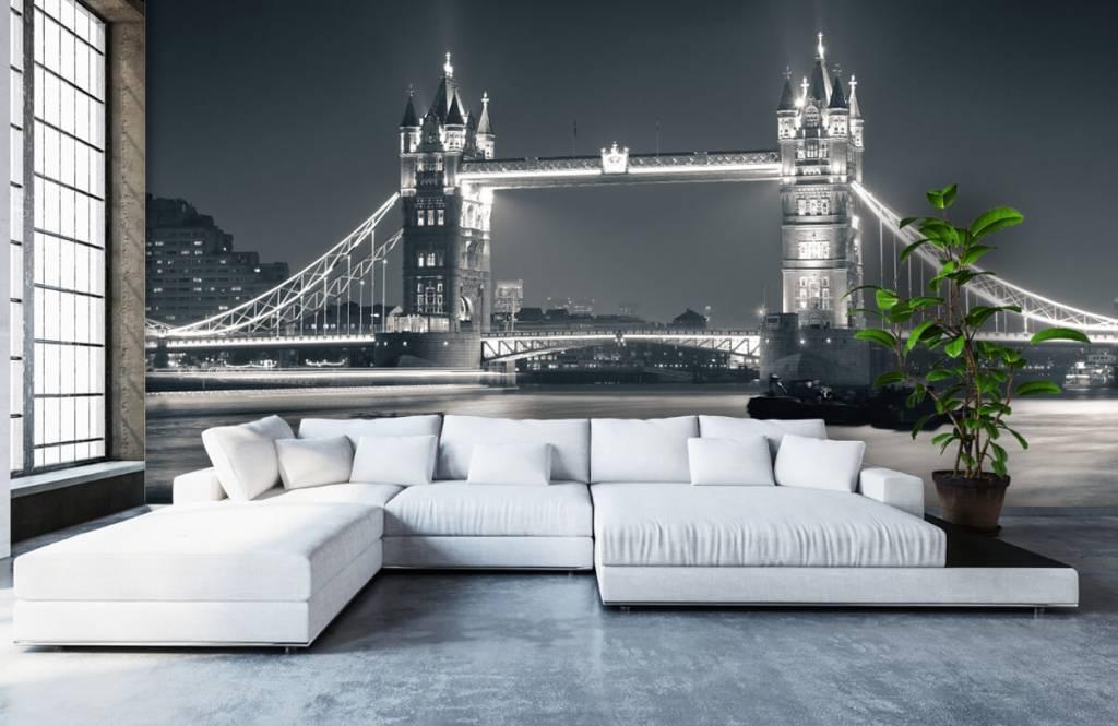Zwart Wit behang - Tower Bridge - Tienerkamer 1