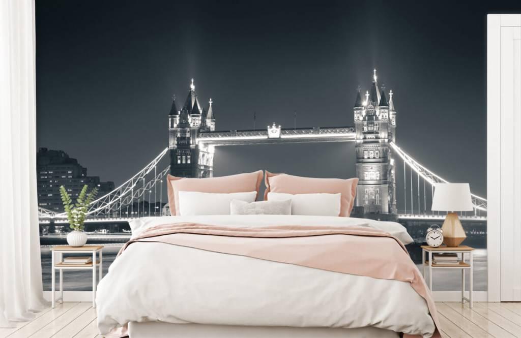Zwart Wit behang - Tower Bridge - Tienerkamer 2
