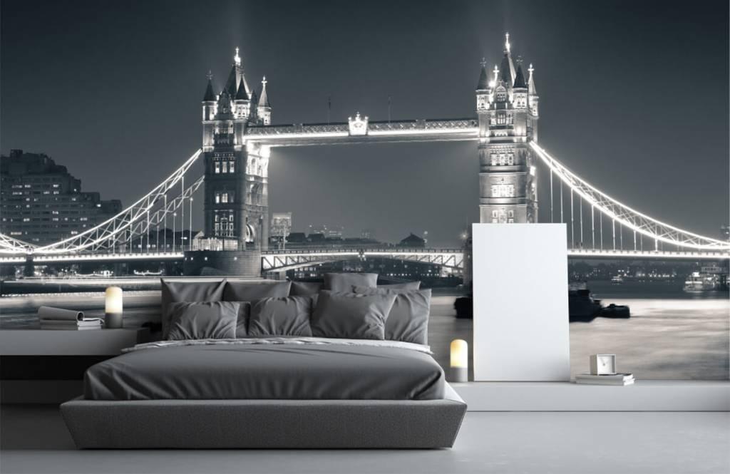 Zwart Wit behang - Tower Bridge - Tienerkamer 3