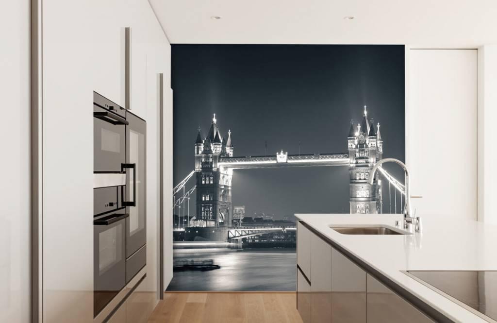 Zwart Wit behang - Tower Bridge - Tienerkamer 4