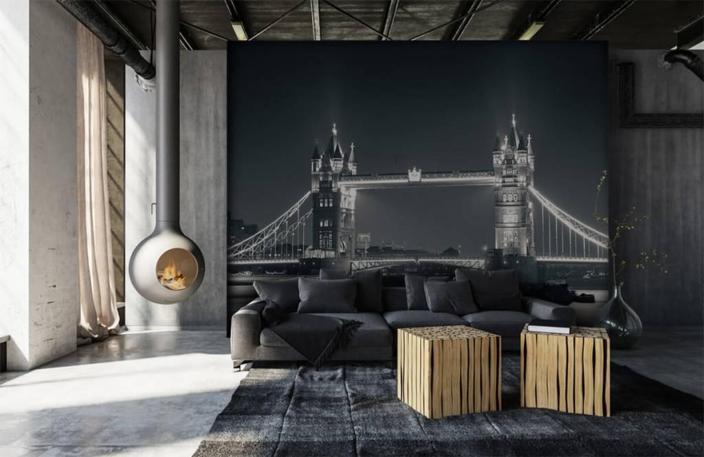 Zwart Wit behang - Tower Bridge - Tienerkamer 6