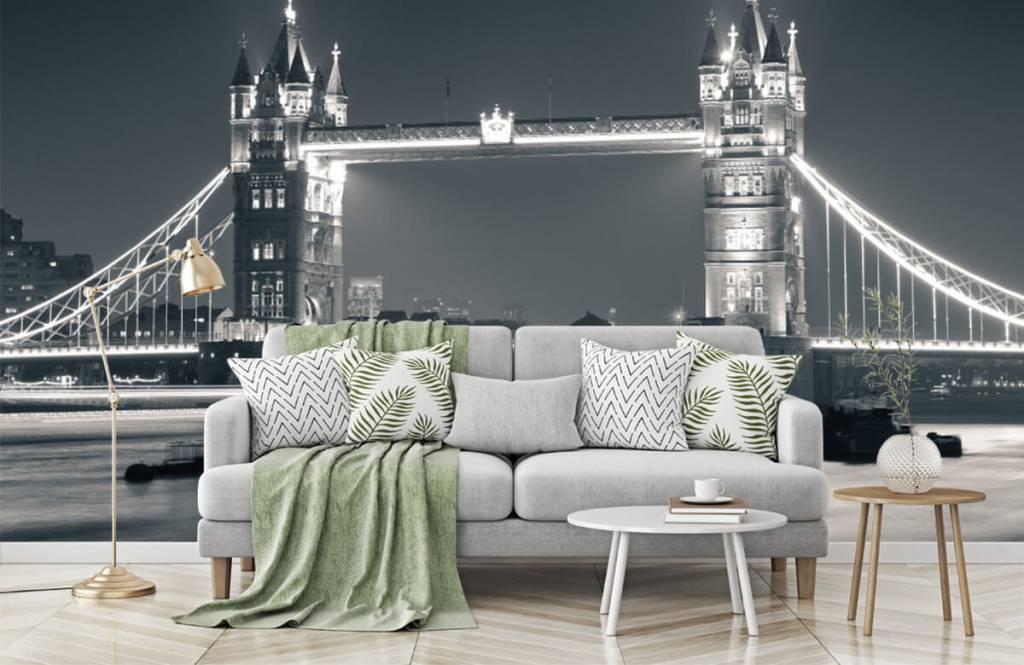 Zwart Wit behang - Tower Bridge - Tienerkamer 7