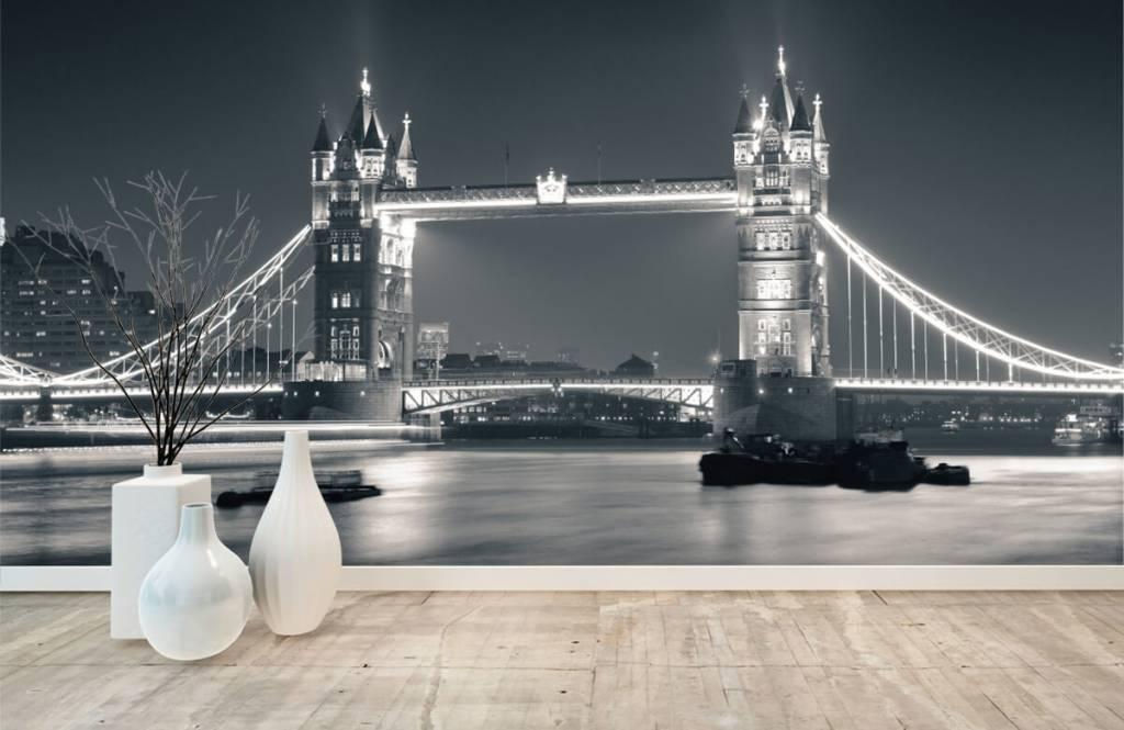 Zwart Wit behang - Tower Bridge - Tienerkamer 8