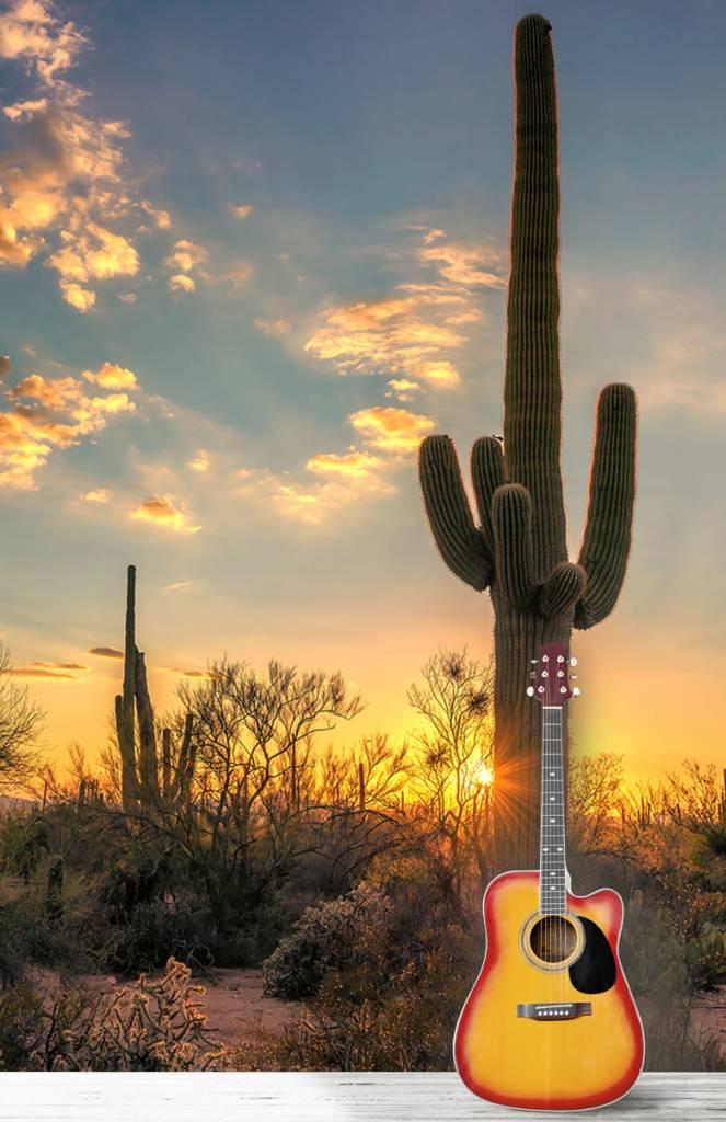Landschap - Cactus met zonsondergang - Slaapkamer 6