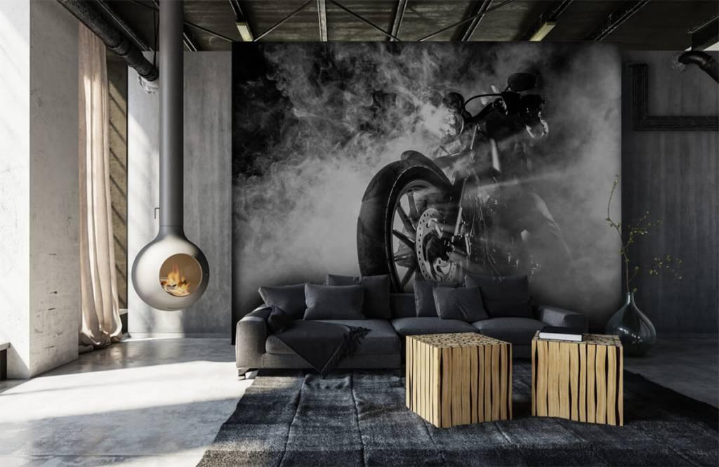Zwart Wit behang - Motor met rook - Tienerkamer 1
