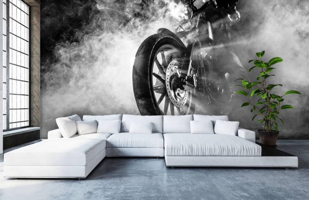 Zwart Wit behang - Motor met rook - Tienerkamer 6