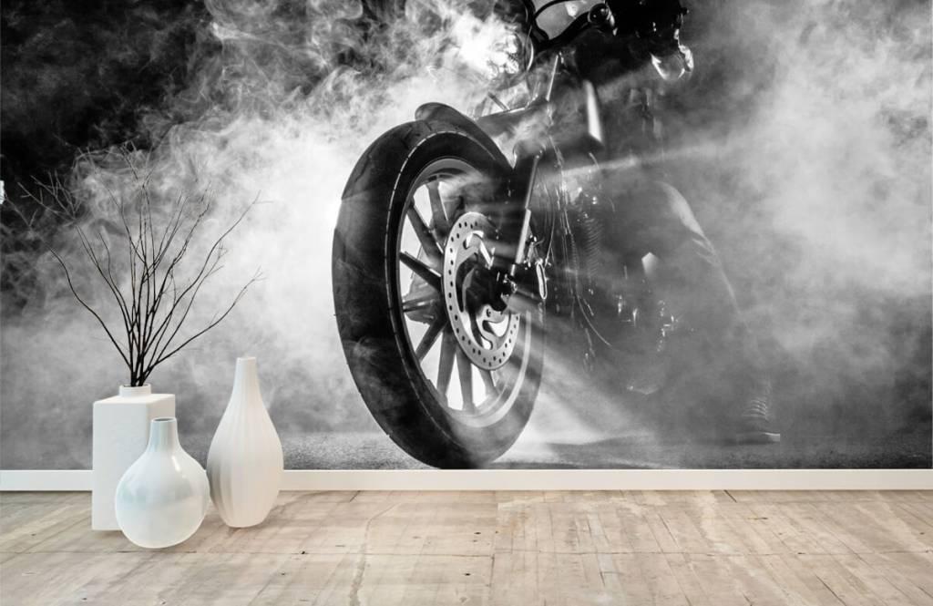 Zwart Wit behang - Motor met rook - Tienerkamer 8