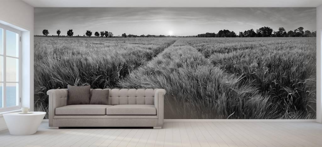 Landschap - Weiland met bandensporen - Slaapkamer 6