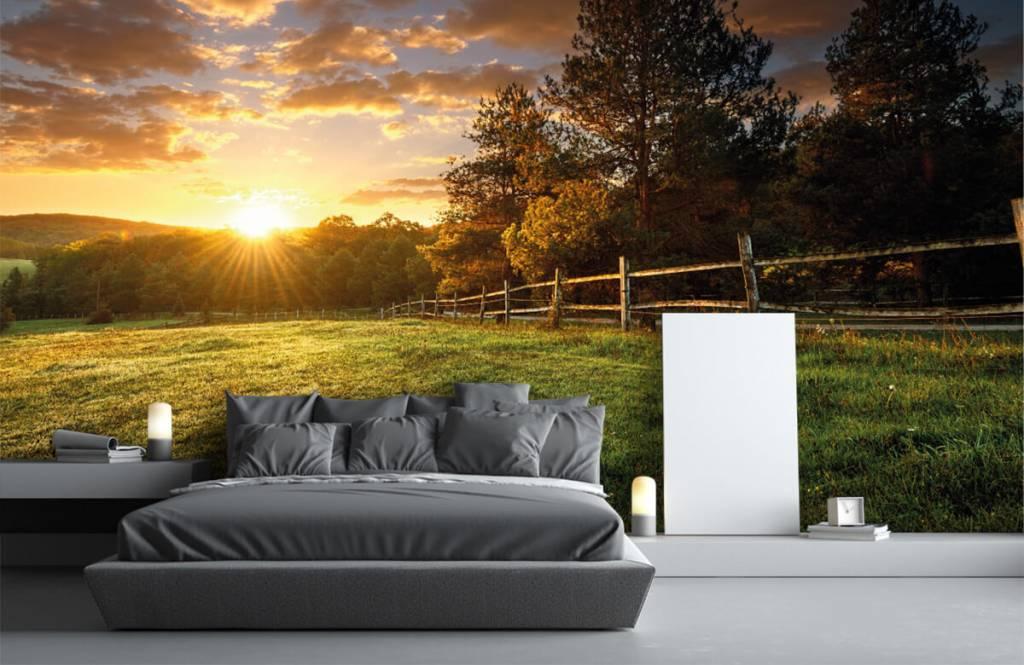 Landschap - Weiland met zonsondergang - Slaapkamer 1